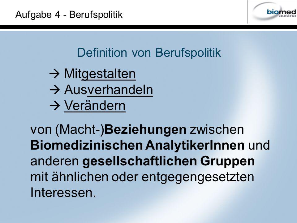 Definition von Berufspolitik Mitgestalten Ausverhandeln Verändern von (Macht-)Beziehungen zwischen Biomedizinischen AnalytikerInnen und anderen gesellschaftlichen Gruppen mit ähnlichen oder entgegengesetzten Interessen.