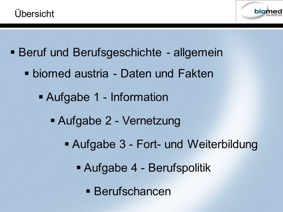 Übersicht Aufgabe 2 - Vernetzung Aufgabe 3 - Fort- und Weiterbildung Aufgabe 4 - Berufspolitik Aufgabe 1 - Information Beruf und Berufsgeschichte - allgemein biomed austria - Daten und Fakten Berufschancen