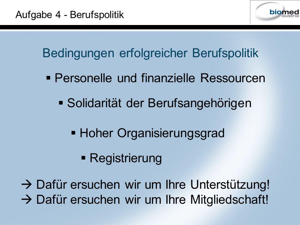Bedingungen erfolgreicher Berufspolitik Personelle und finanzielle Ressourcen Solidarität der Berufsangehörigen Hoher Organisierungsgrad Registrierung Aufgabe 4 - Berufspolitik Dafür ersuchen wir um Ihre Unterstützung.
