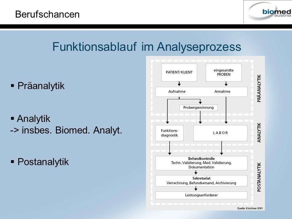 Berufschancen Funktionsablauf im Analyseprozess Präanalytik Analytik -> insbes. Biomed. Analyt. Postanalytik