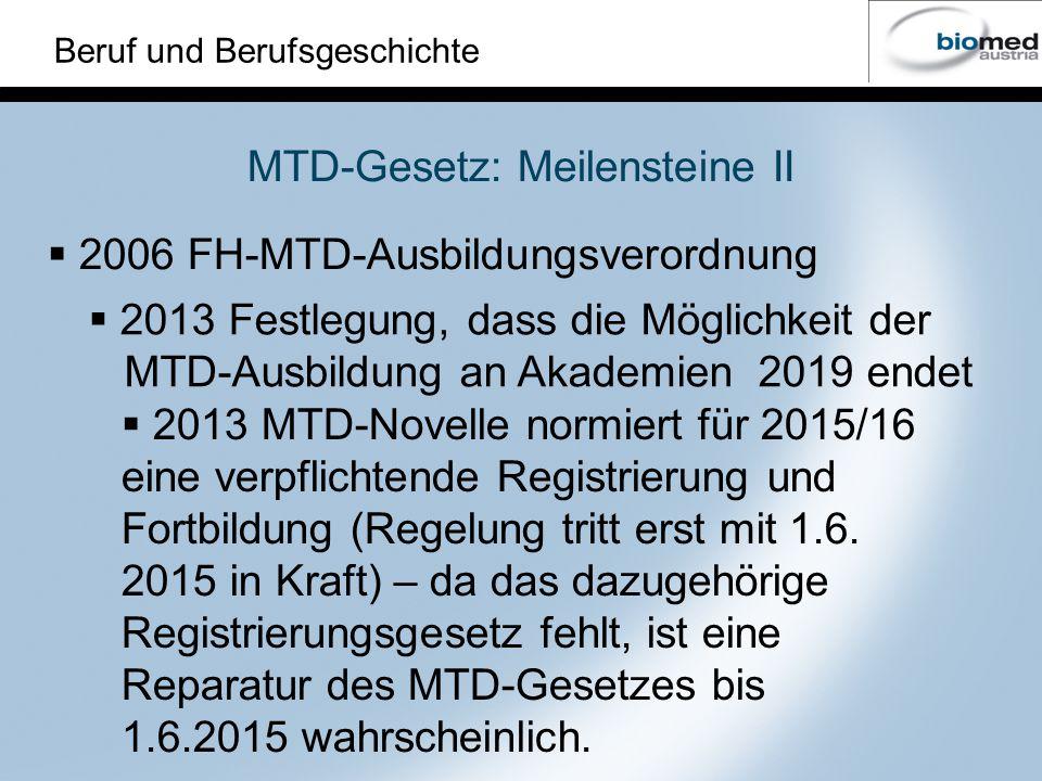 Beruf und Berufsgeschichte 2013 MTD-Novelle normiert für 2015/16 eine verpflichtende Registrierung und Fortbildung (Regelung tritt erst mit 1.6.
