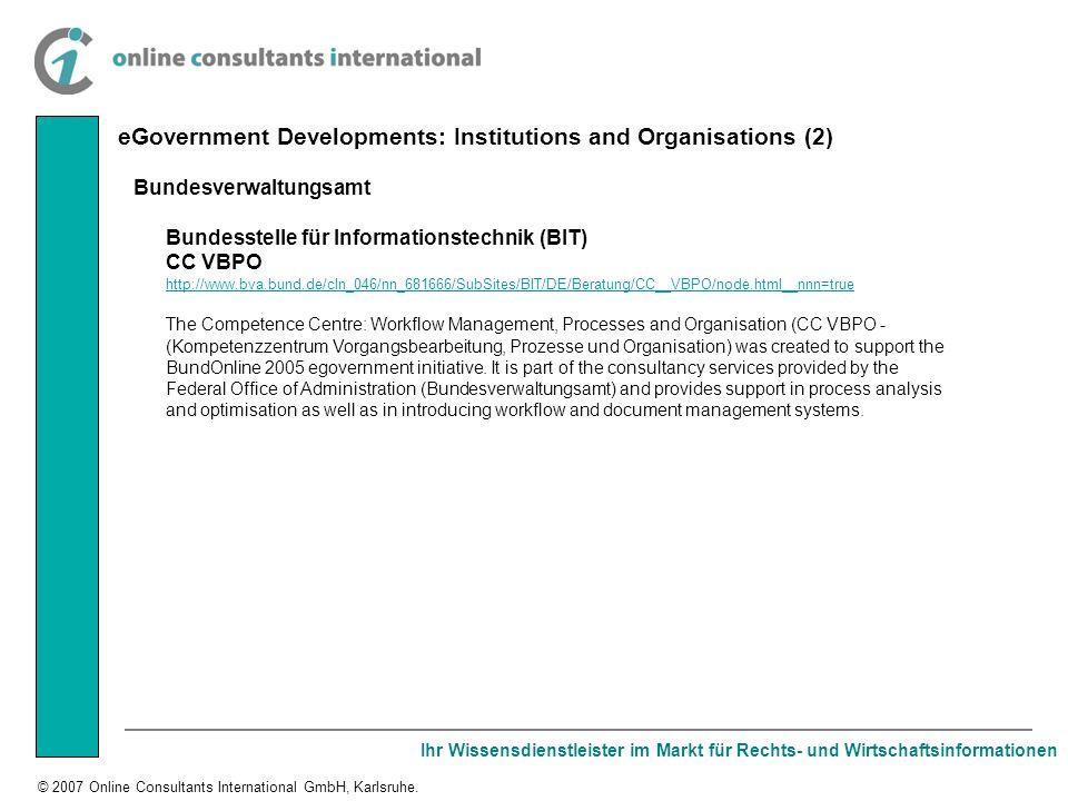 Ihr Wissensdienstleister im Markt für Rechts- und Wirtschaftsinformationen © 2007 Online Consultants International GmbH, Karlsruhe. Bundesverwaltungsa