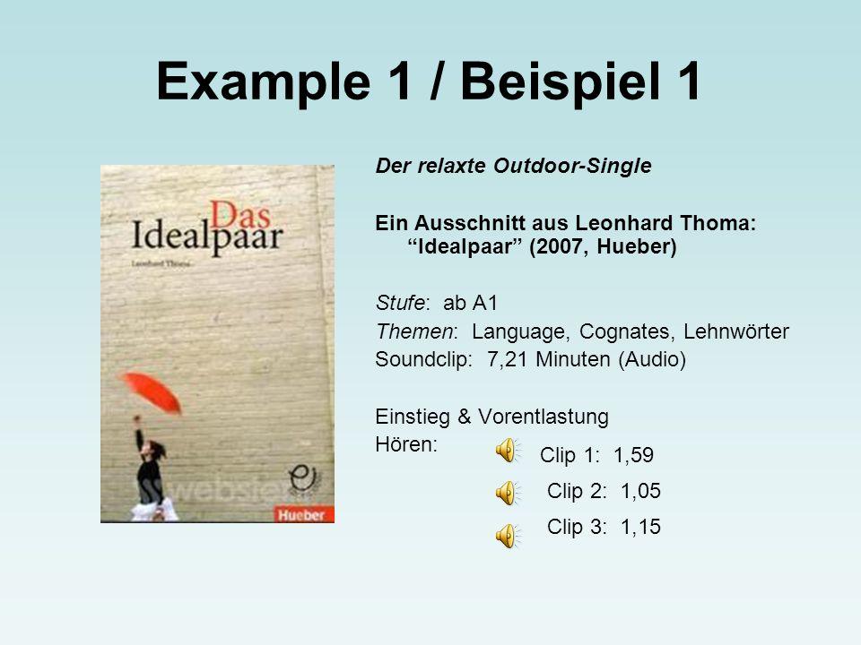 Example 1 / Beispiel 1 Der relaxte Outdoor-Single Ein Ausschnitt aus Leonhard Thoma: Idealpaar (2007, Hueber) Stufe: ab A1 Themen: Language, Cognates, Lehnwörter Soundclip: 7,21 Minuten (Audio) Einstieg & Vorentlastung Hören: Clip 1: 1,59 Clip 2: 1,05 Clip 3: 1,15
