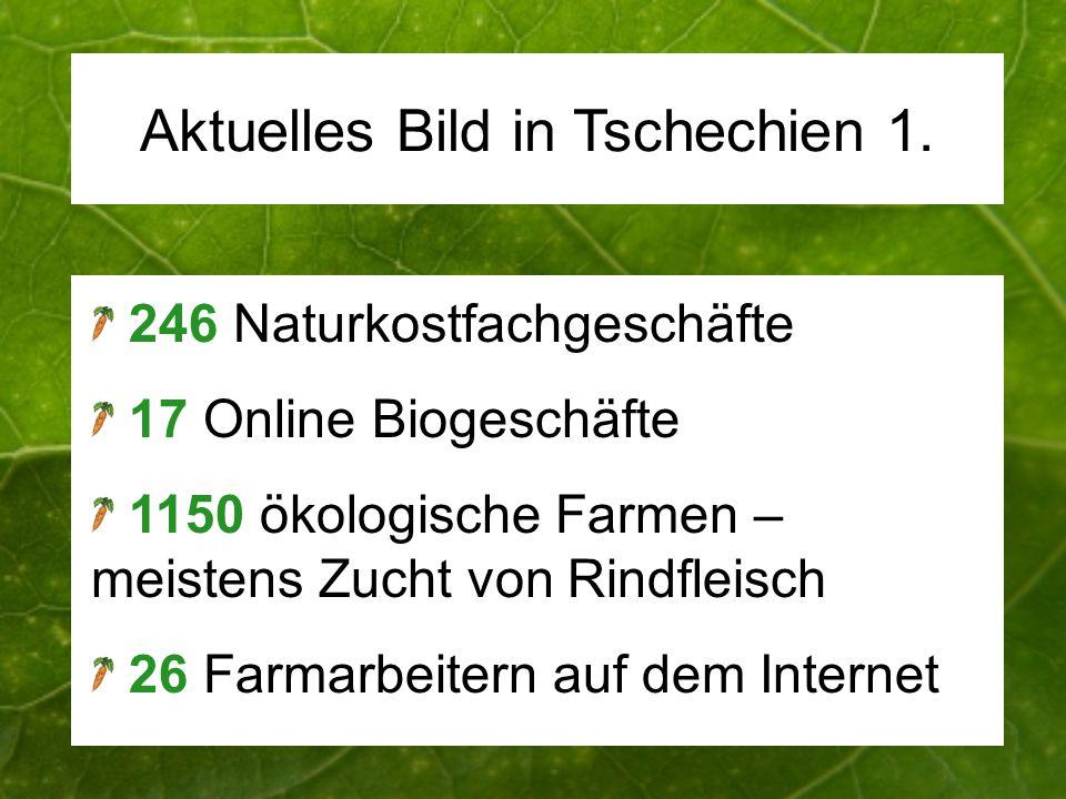 Aktuelles Bild in Tschechien 1. 246 Naturkostfachgeschäfte 17 Online Biogeschäfte 1150 ökologische Farmen – meistens Zucht von Rindfleisch 26 Farmarbe