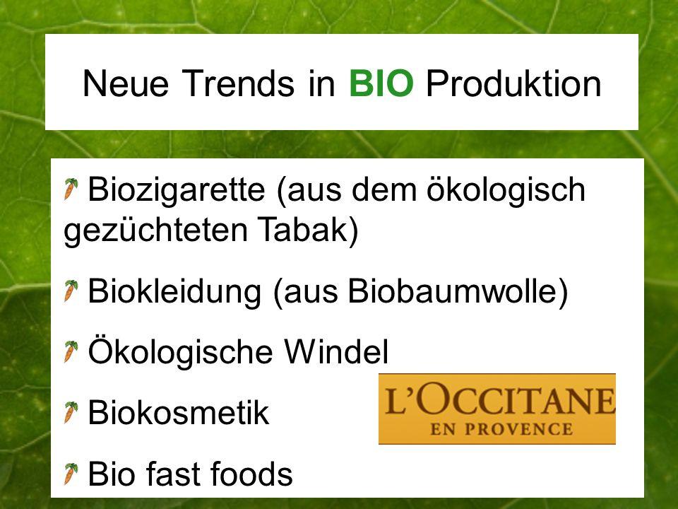 Neue Trends in BIO Produktion Biozigarette (aus dem ökologisch gezüchteten Tabak) Biokleidung (aus Biobaumwolle) Ökologische Windel Biokosmetik Bio fa