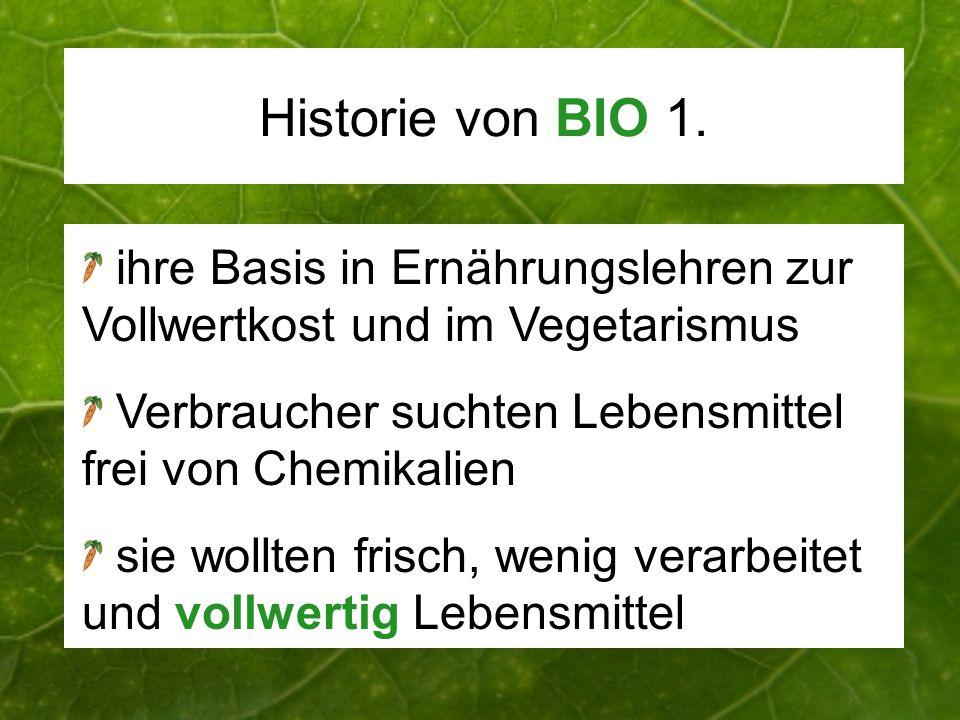 Historie von BIO 1. ihre Basis in Ernährungslehren zur Vollwertkost und im Vegetarismus Verbraucher suchten Lebensmittel frei von Chemikalien sie woll