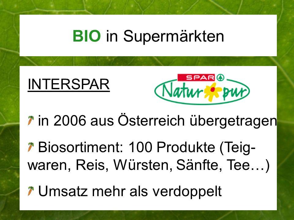 BIO in Supermärkten INTERSPAR in 2006 aus Österreich übergetragen Biosortiment: 100 Produkte (Teig- waren, Reis, Würsten, Sänfte, Tee…) Umsatz mehr al