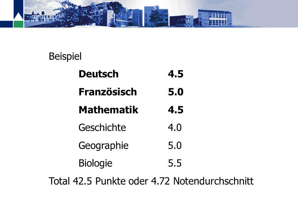 Beispiel Deutsch4.5 Französisch5.0 Mathematik4.5 Geschichte4.0 Geographie5.0 Biologie5.5 Total 42.5 Punkte oder 4.72 Notendurchschnitt