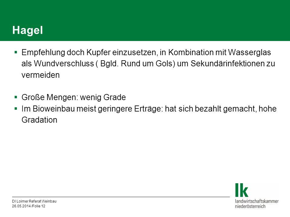 DI Loimer Referat Weinbau 26.05.2014 /Folie 12 Hagel Empfehlung doch Kupfer einzusetzen, in Kombination mit Wasserglas als Wundverschluss ( Bgld. Rund