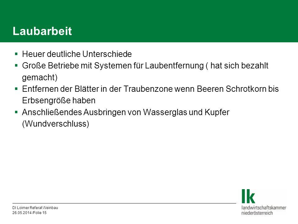 DI Loimer Referat Weinbau 26.05.2014 /Folie 15 Laubarbeit Heuer deutliche Unterschiede Große Betriebe mit Systemen für Laubentfernung ( hat sich bezah