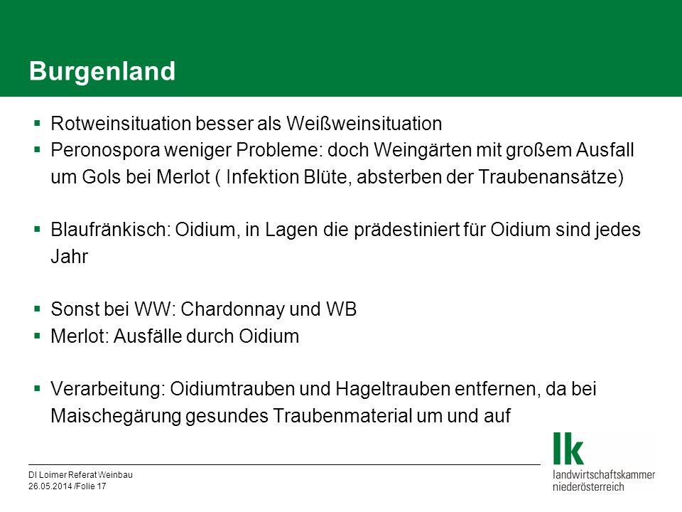 DI Loimer Referat Weinbau 26.05.2014 /Folie 17 Burgenland Rotweinsituation besser als Weißweinsituation Peronospora weniger Probleme: doch Weingärten