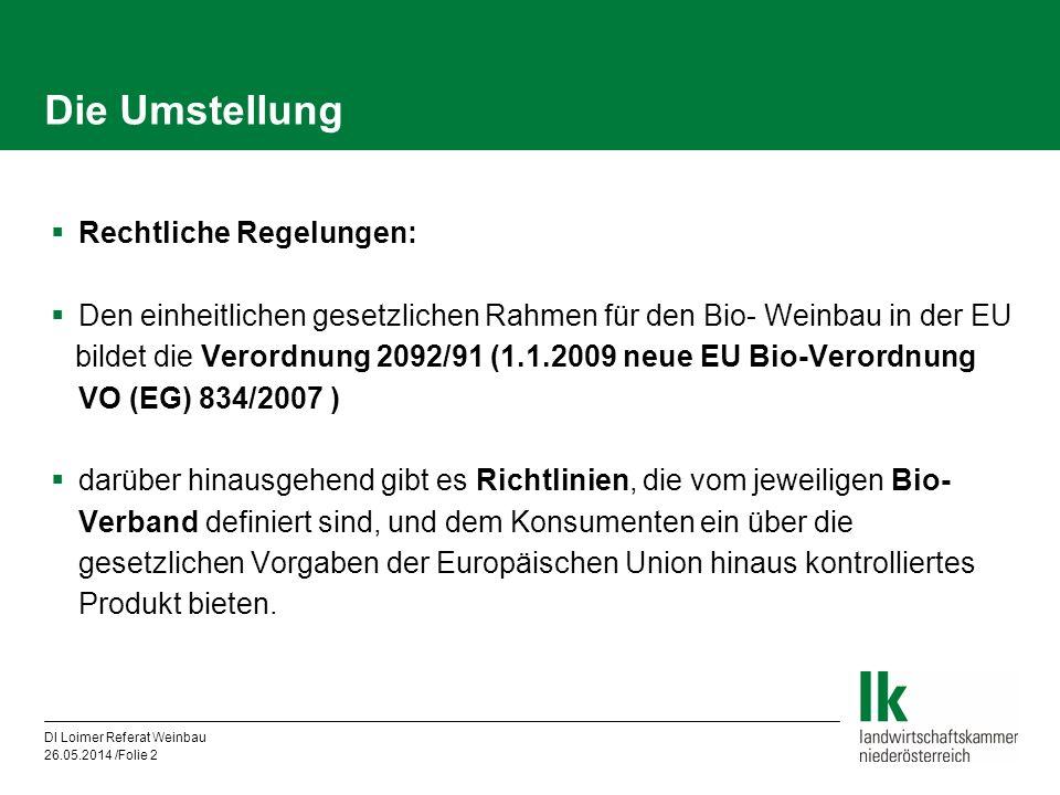 DI Loimer Referat Weinbau 26.05.2014 /Folie 2 Die Umstellung Rechtliche Regelungen: Den einheitlichen gesetzlichen Rahmen für den Bio- Weinbau in der