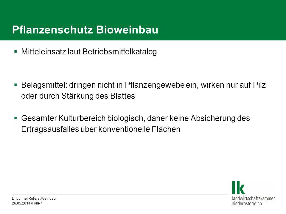 DI Loimer Referat Weinbau 26.05.2014 /Folie 4 Pflanzenschutz Bioweinbau Mitteleinsatz laut Betriebsmittelkatalog Belagsmittel: dringen nicht in Pflanz