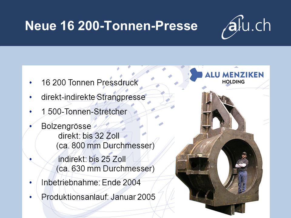 Neue 16 200-Tonnen-Presse 16 200 Tonnen Pressdruck direkt-indirekte Strangpresse 1 500-Tonnen-Stretcher Bolzengrösse direkt: bis 32 Zoll (ca.