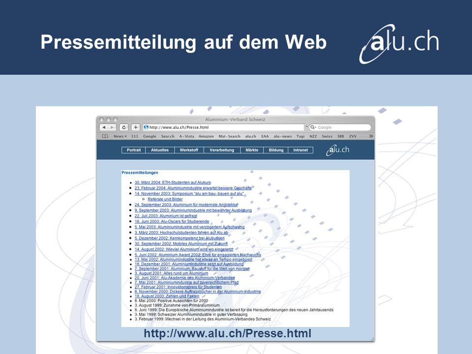 Pressemitteilung auf dem Web http://www.alu.ch/Presse.html