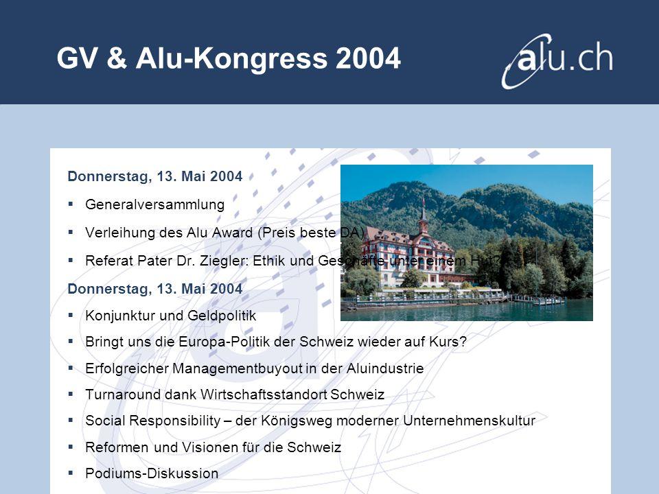 GV & Alu-Kongress 2004 Donnerstag, 13.