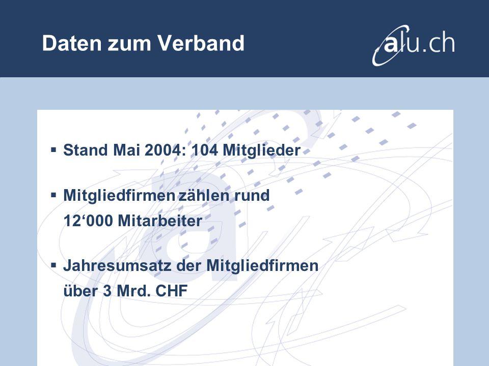 Daten zum Verband Stand Mai 2004: 104 Mitglieder Mitgliedfirmen zählen rund 12000 Mitarbeiter Jahresumsatz der Mitgliedfirmen über 3 Mrd.