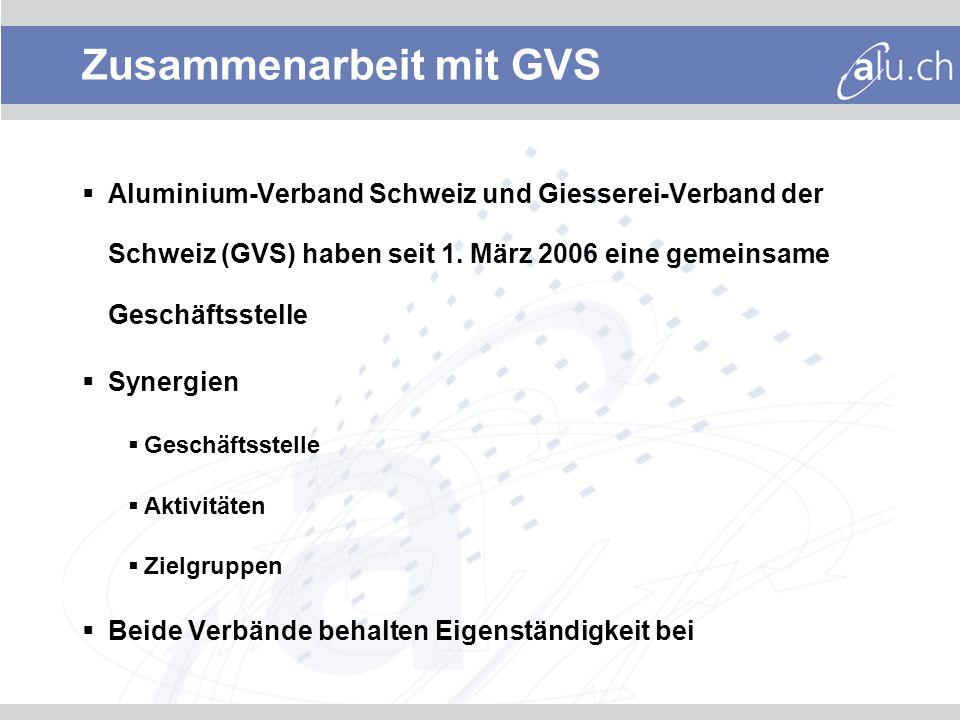 Zusammenarbeit mit GVS Aluminium-Verband Schweiz und Giesserei-Verband der Schweiz (GVS) haben seit 1.