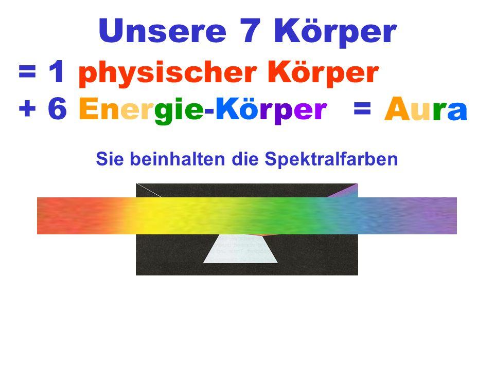 Unsere 7 Körper Sie beinhalten die Spektralfarben = 1 physischer Körper + 6 Energie-Körper = Aura