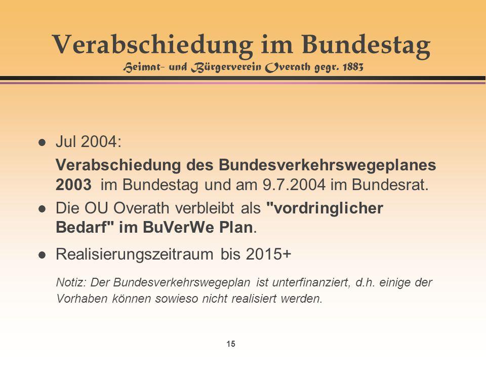 15 Verabschiedung im Bundestag Heimat- und Bürgerverein Overath gegr. 1883 l Jul 2004: Verabschiedung des Bundesverkehrswegeplanes 2003 im Bundestag u