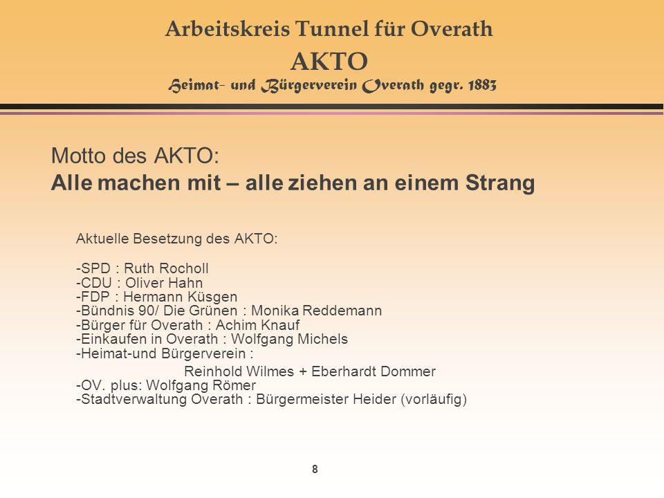 8 Arbeitskreis Tunnel für Overath AKTO Heimat- und Bürgerverein Overath gegr. 1883 Motto des AKTO: Alle machen mit – alle ziehen an einem Strang Aktue