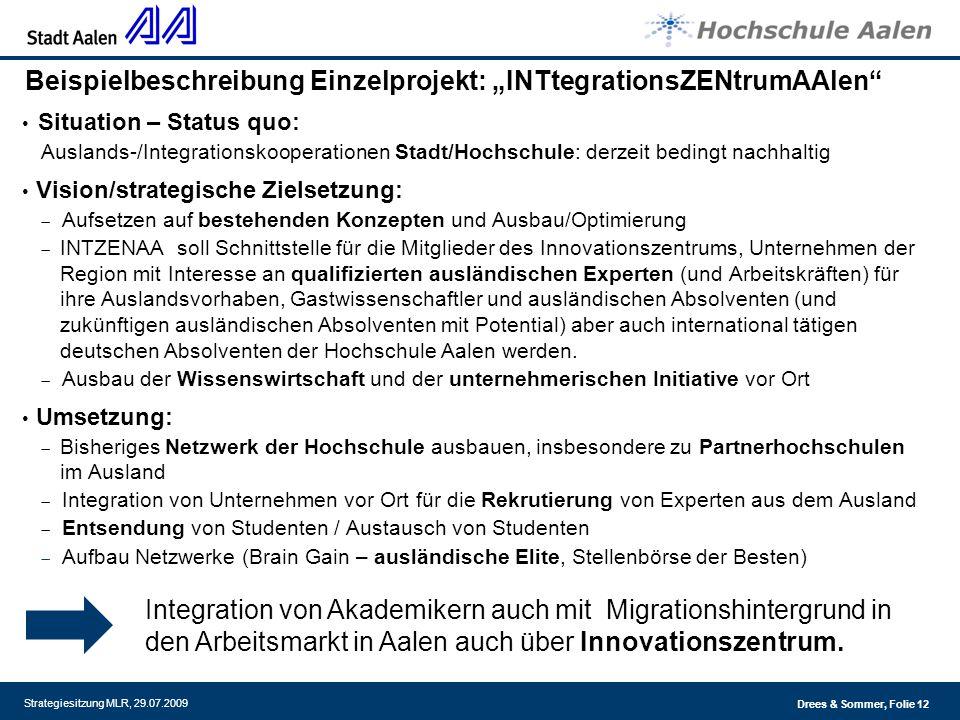 Drees & Sommer, Folie 12 Strategiesitzung MLR, 29.07.2009 Beispielbeschreibung Einzelprojekt: INTtegrationsZENtrumAAlen Situation – Status quo: Auslan