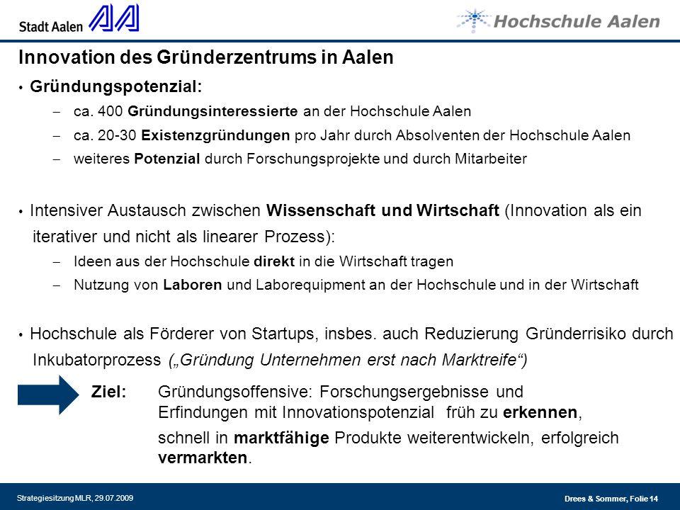 Drees & Sommer, Folie 14 Strategiesitzung MLR, 29.07.2009 Innovation des Gründerzentrums in Aalen Gründungspotenzial: ca. 400 Gründungsinteressierte a