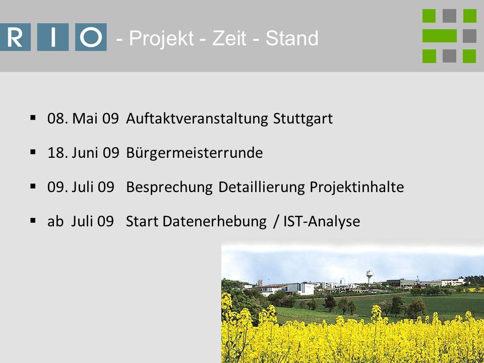2 - Projekt - Zeit - Stand 08. Mai 09 Auftaktveranstaltung Stuttgart 18.