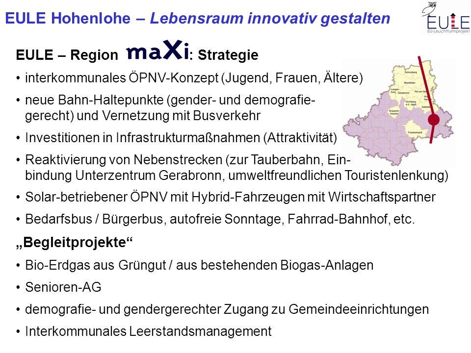 EULE Hohenlohe – Lebensraum innovativ gestalten EULE – Region : Strategie interkommunales ÖPNV-Konzept (Jugend, Frauen, Ältere) neue Bahn-Haltepunkte