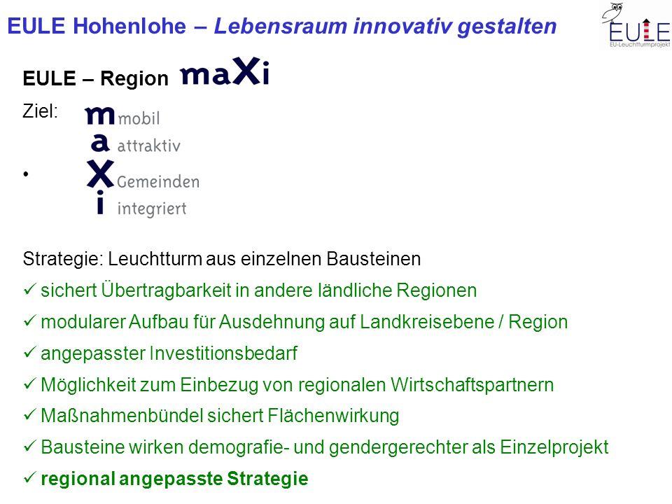 EULE Hohenlohe – Lebensraum innovativ gestalten EULE – Region Ziel: Strategie: Leuchtturm aus einzelnen Bausteinen sichert Übertragbarkeit in andere l