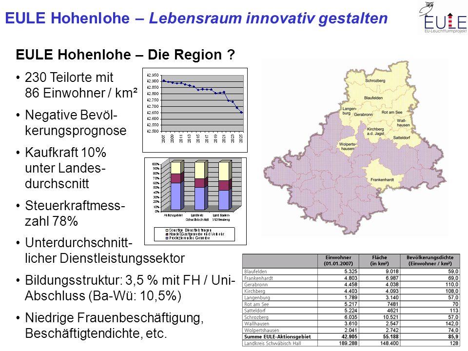 EULE Hohenlohe – Lebensraum innovativ gestalten EULE Hohenlohe – Die Region ? 230 Teilorte mit 86 Einwohner / km² Negative Bevöl- kerungsprognose Kauf