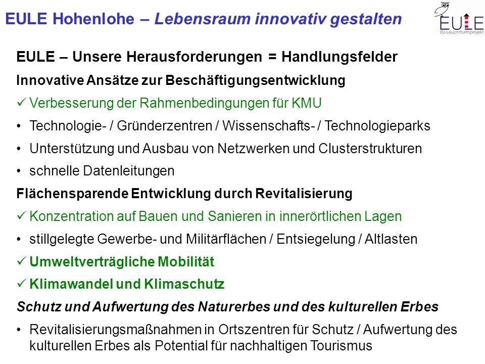 EULE Hohenlohe – Lebensraum innovativ gestalten EULE – Unsere Herausforderungen = Handlungsfelder Innovative Ansätze zur Beschäftigungsentwicklung Ver