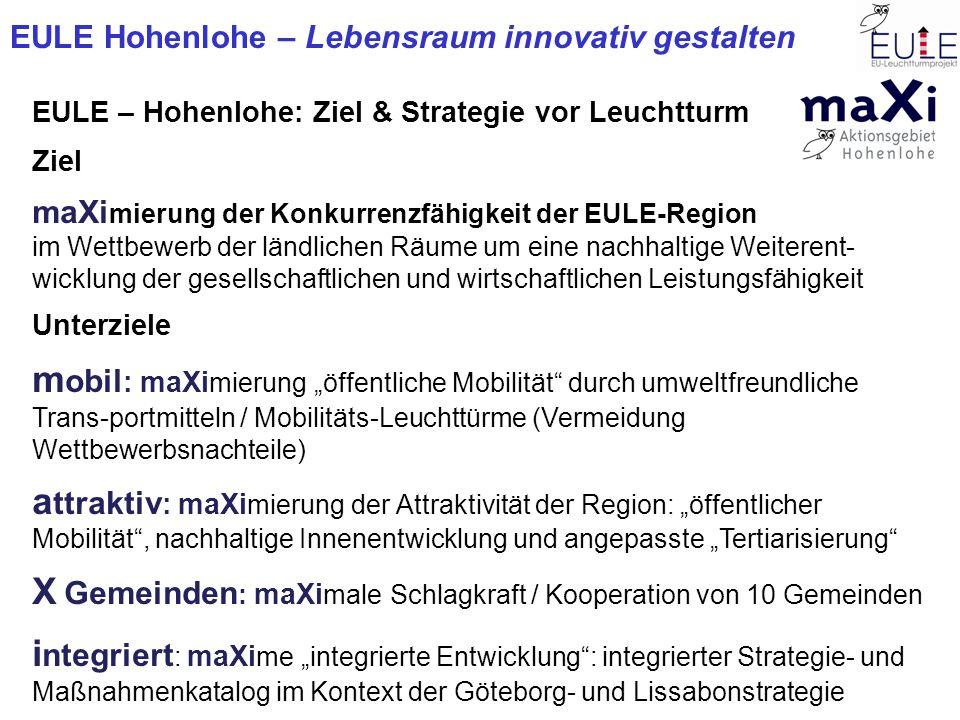 EULE Hohenlohe – Lebensraum innovativ gestalten EULE – Region Hohenlohe: Strategie = Leuchtturm Handlungsfelder Grobskizze Entwicklungskonzeption X Handlungsfelder Grobskizze Entwicklungskonzeption EULE-Maßnahme