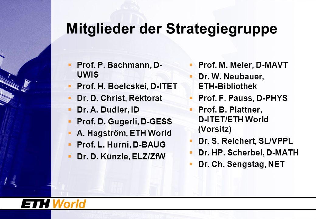 World Mitglieder der Strategiegruppe Prof. P. Bachmann, D- UWIS Prof.