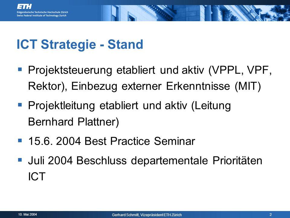 10. Mai 2004 Gerhard Schmitt, Vizepräsident ETH Zürich 2 ICT Strategie - Stand Projektsteuerung etabliert und aktiv (VPPL, VPF, Rektor), Einbezug exte