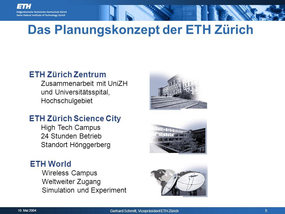 10. Mai 2004 Gerhard Schmitt, Vizepräsident ETH Zürich 5 ETH Zürich Zentrum Zusammenarbeit mit UniZH und Universitätsspital, Hochschulgebiet ETH Züric