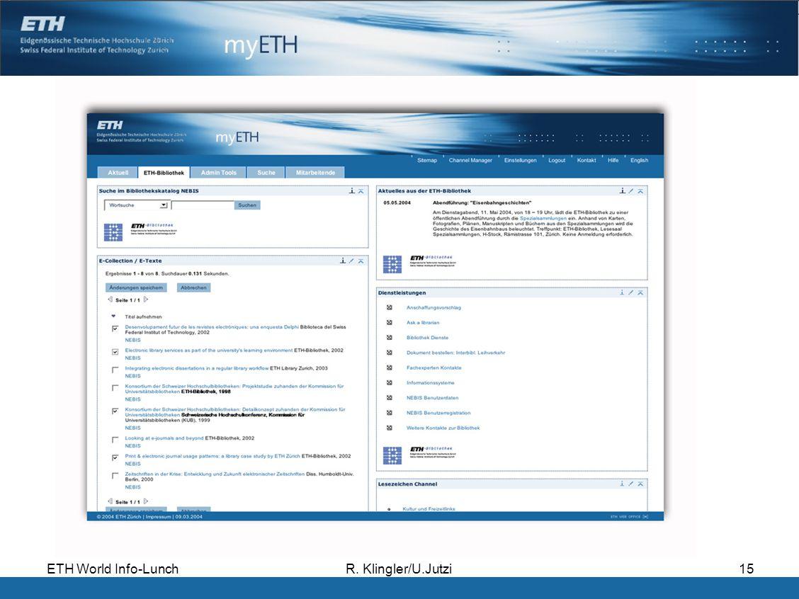ETH World Info-LunchR. Klingler/U.Jutzi15