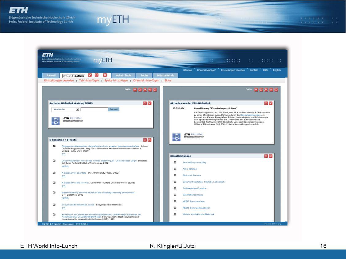 ETH World Info-LunchR. Klingler/U.Jutzi16