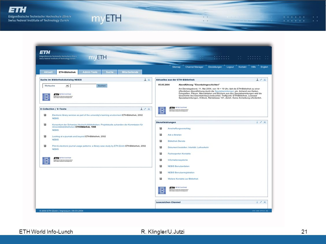 ETH World Info-LunchR. Klingler/U.Jutzi21