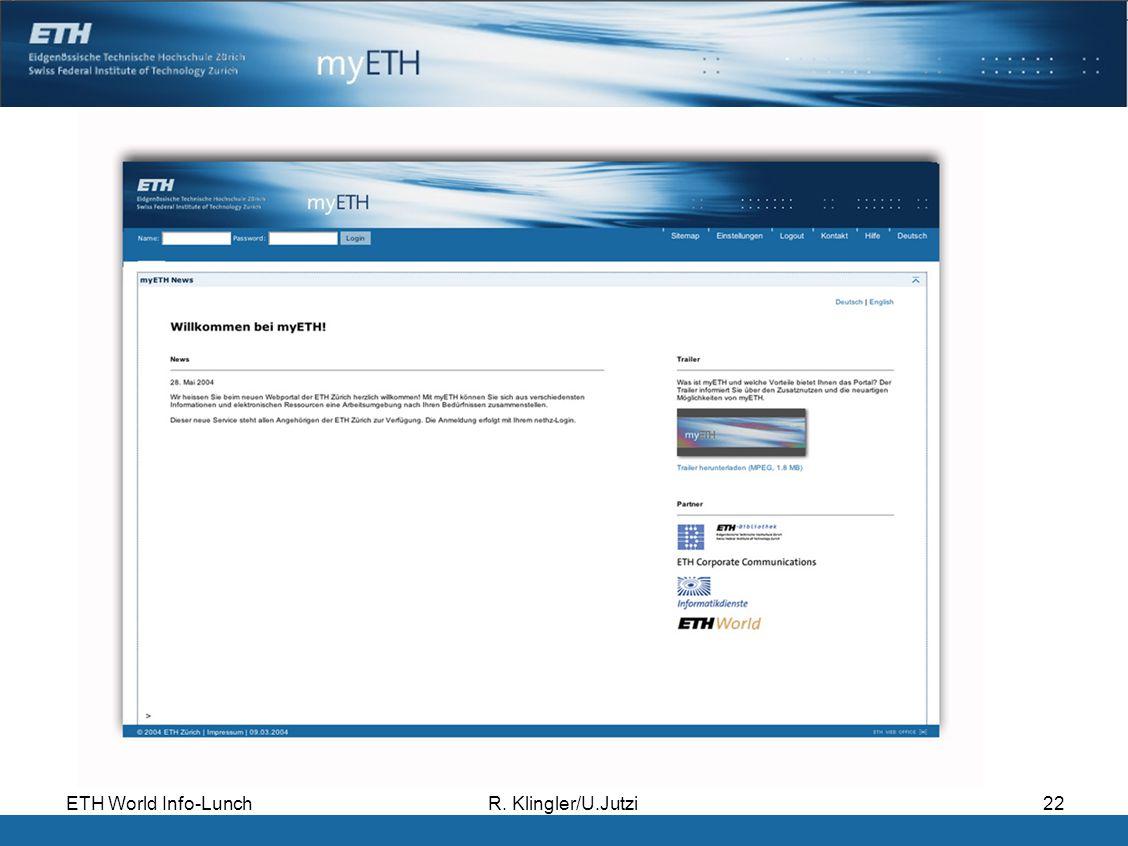 ETH World Info-LunchR. Klingler/U.Jutzi22
