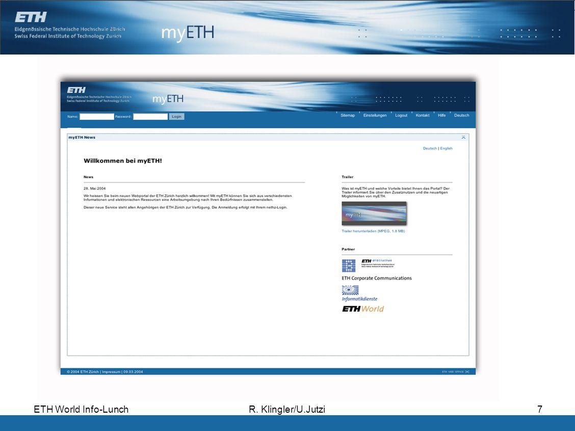 ETH World Info-LunchR. Klingler/U.Jutzi7