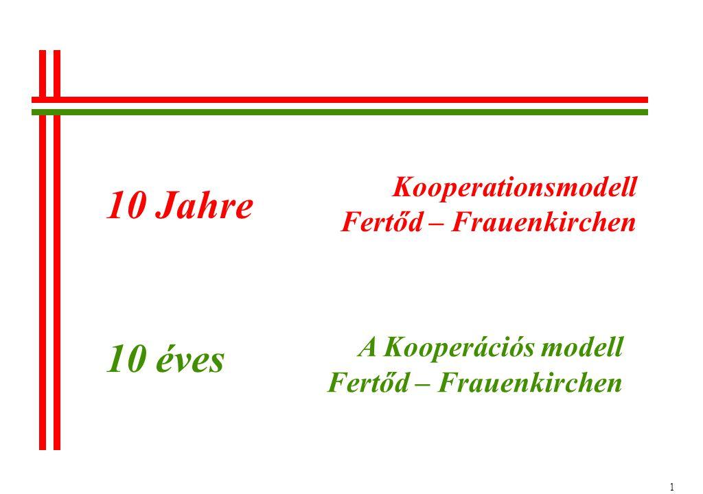 1 Kooperationsmodell Fertőd – Frauenkirchen A Kooperációs modell Fertőd – Frauenkirchen 10 Jahre 10 éves