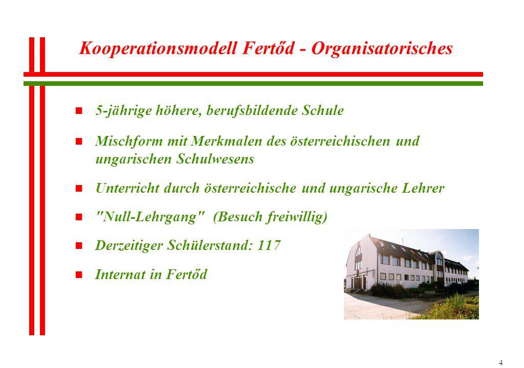 4 Kooperationsmodell Fertőd - Organisatorisches n 5-jährige höhere, berufsbildende Schule n Mischform mit Merkmalen des österreichischen und ungarisch