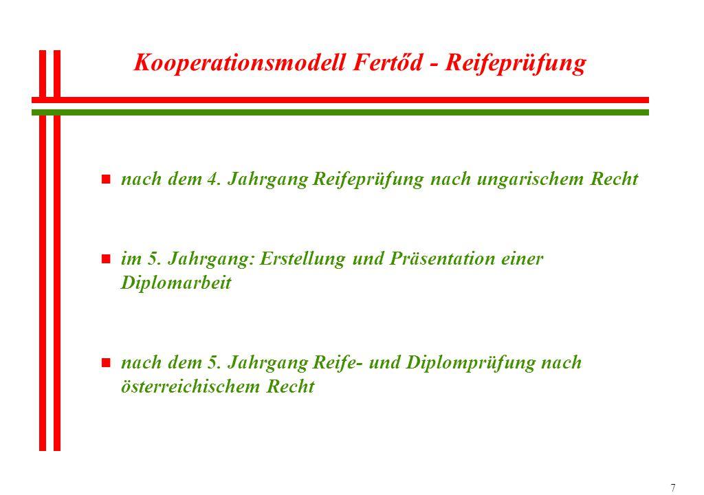 7 Kooperationsmodell Fertőd - Reifeprüfung n nach dem 4. Jahrgang Reifeprüfung nach ungarischem Recht n im 5. Jahrgang: Erstellung und Präsentation ei