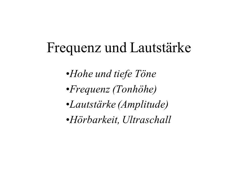 Frequenz und Lautstärke Hohe und tiefe Töne Frequenz (Tonhöhe) Lautstärke (Amplitude) Hörbarkeit, Ultraschall