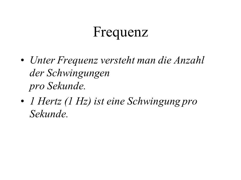 Frequenz Unter Frequenz versteht man die Anzahl der Schwingungen pro Sekunde. 1 Hertz (1 Hz) ist eine Schwingung pro Sekunde.