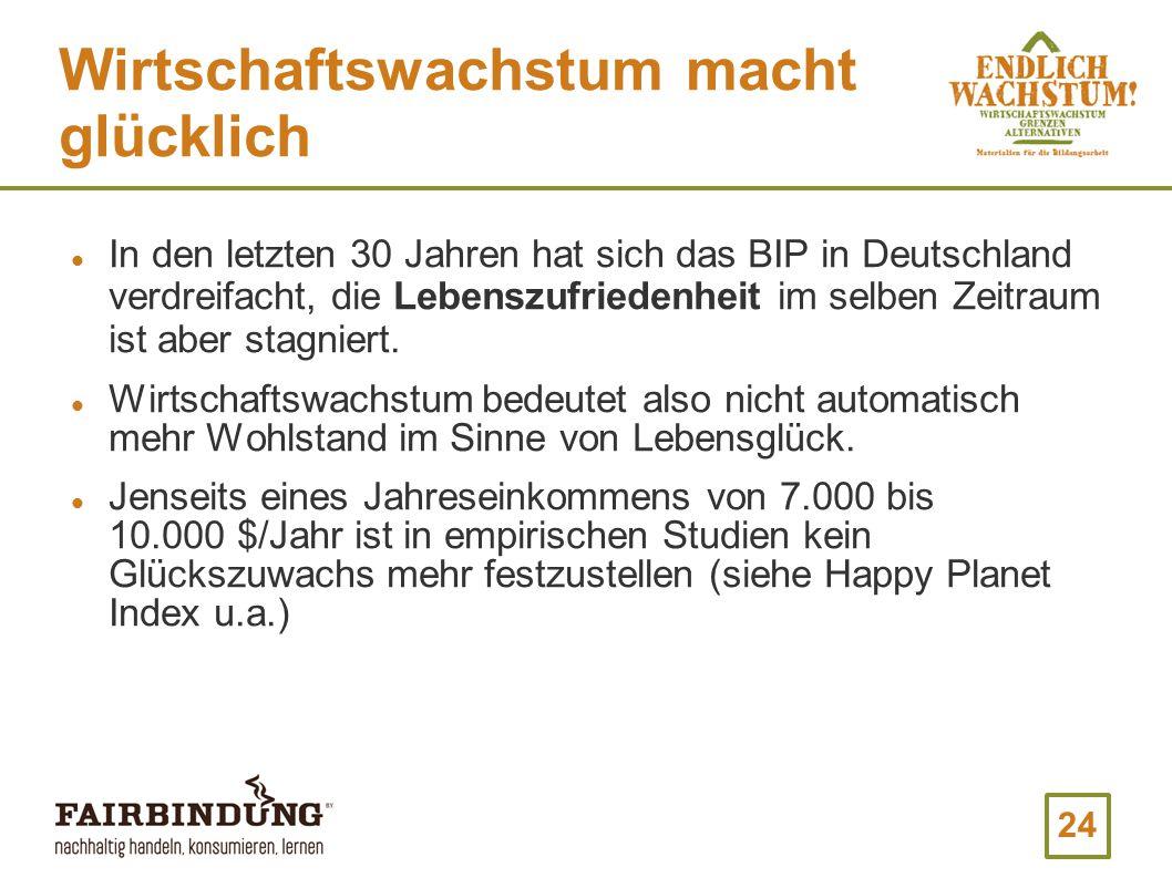 24 Wirtschaftswachstum macht glücklich In den letzten 30 Jahren hat sich das BIP in Deutschland verdreifacht, die Lebenszufriedenheit im selben Zeitraum ist aber stagniert.