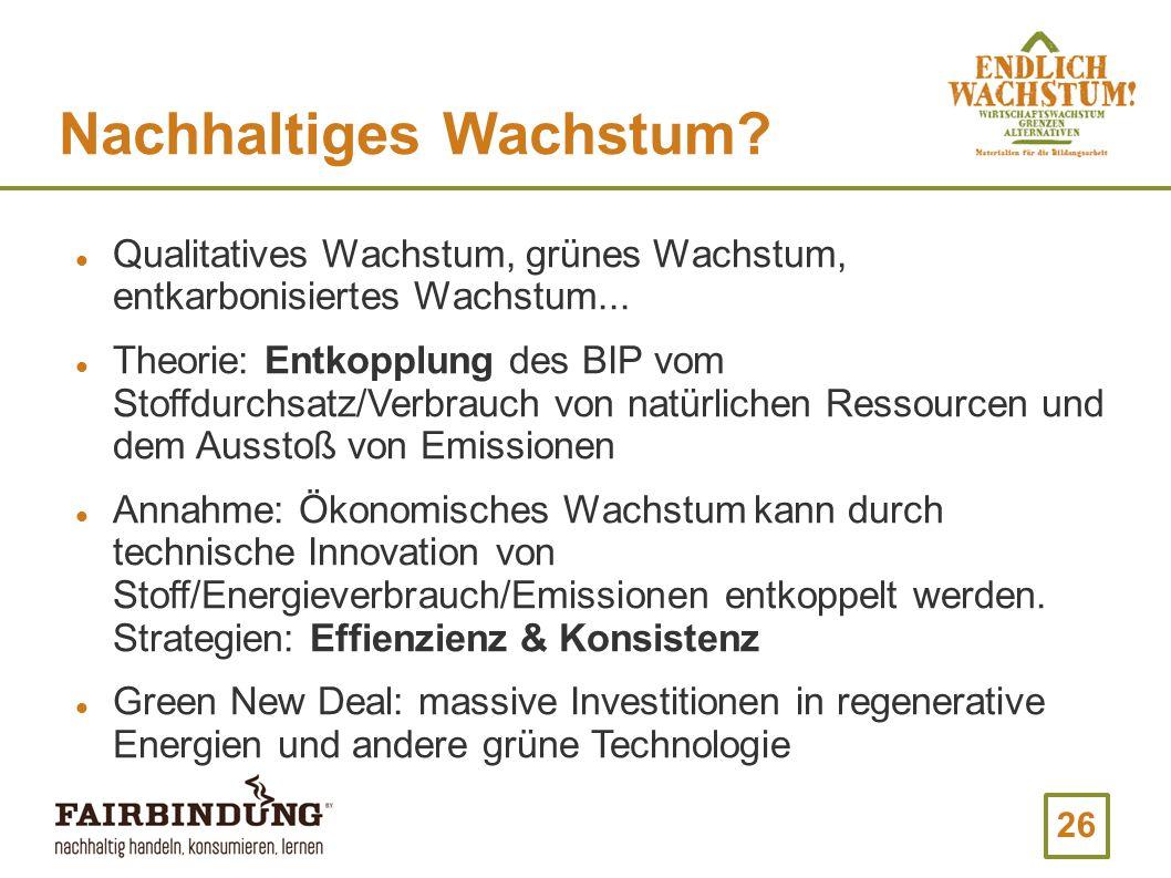26 Nachhaltiges Wachstum.Qualitatives Wachstum, grünes Wachstum, entkarbonisiertes Wachstum...