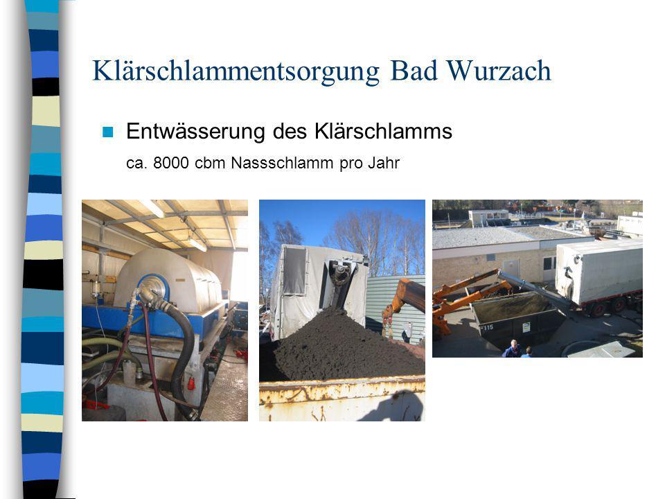 Klärschlammentsorgung Bad Wurzach Entwässerung des Klärschlamms ca. 8000 cbm Nassschlamm pro Jahr