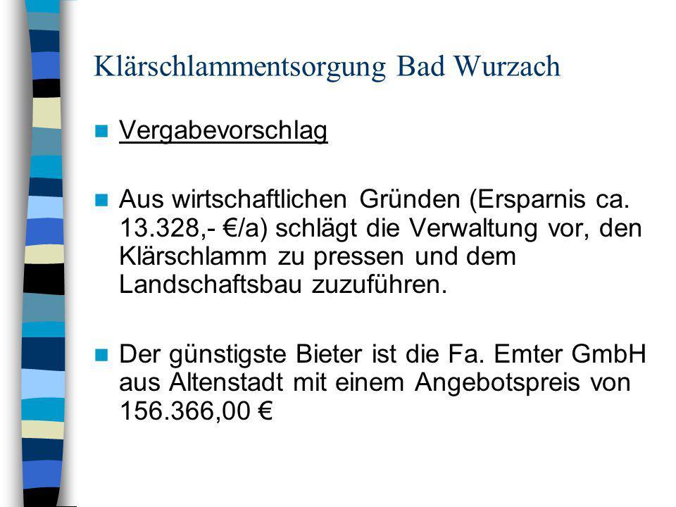 Klärschlammentsorgung Bad Wurzach Vergabevorschlag Aus wirtschaftlichen Gründen (Ersparnis ca. 13.328,- /a) schlägt die Verwaltung vor, den Klärschlam